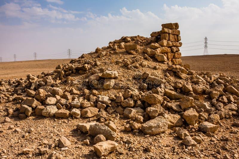 Un avant-poste ruiné près d'Abu Jifan Fort, province de Riyadh, Arabie Saoudite photos libres de droits