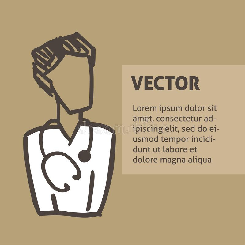 Un avatar medico di scarabocchio di vettore di un medico Un modello quadrato per un'aletta di filatoio, manifesto illustrazione vettoriale