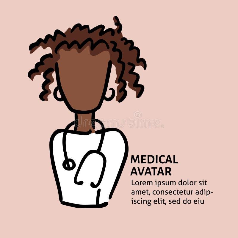 Un avatar medico di scarabocchio di vettore di un medico o di un infermiere Un modello quadrato per un'aletta di filatoio, manife illustrazione vettoriale