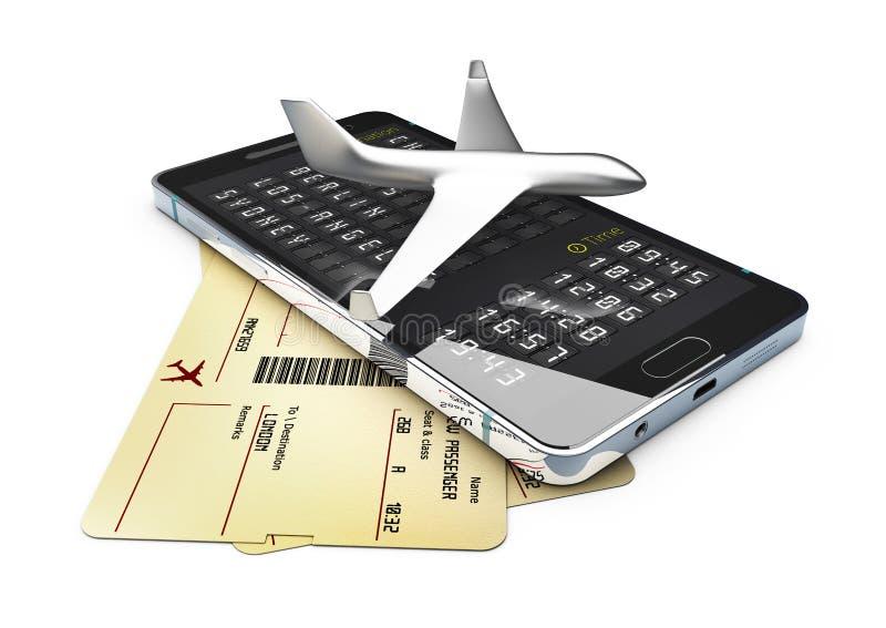 Un avión en el teléfono y los boletos para el viaje de negocios viajan o vacation el ejemplo aislado viaje 3d ilustración del vector