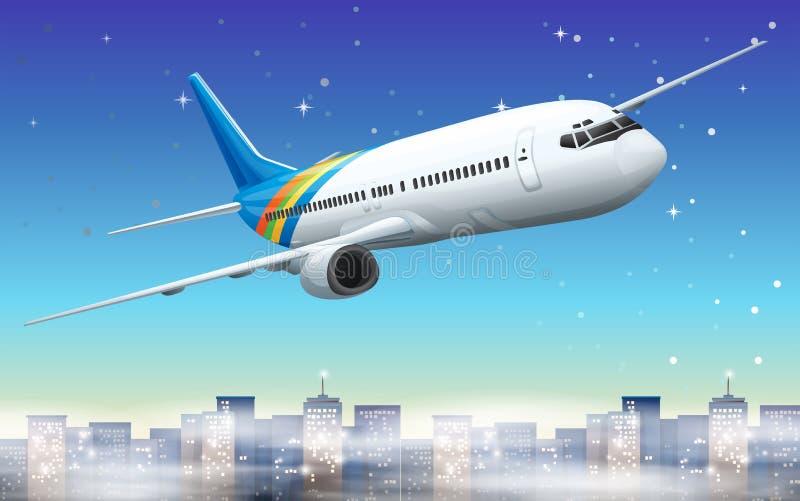 Un avión grande en el cielo ilustración del vector