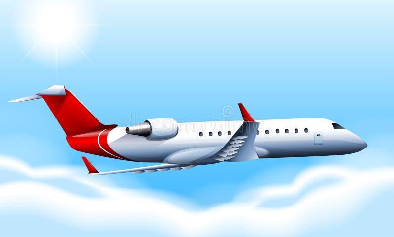 Un avión que cruza en el cielo stock de ilustración
