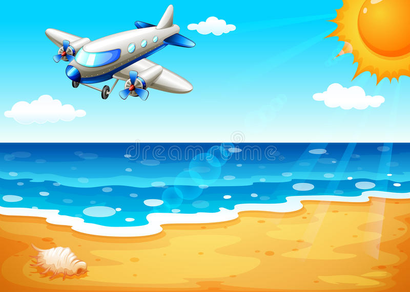 Un avion à la plage illustration de vecteur