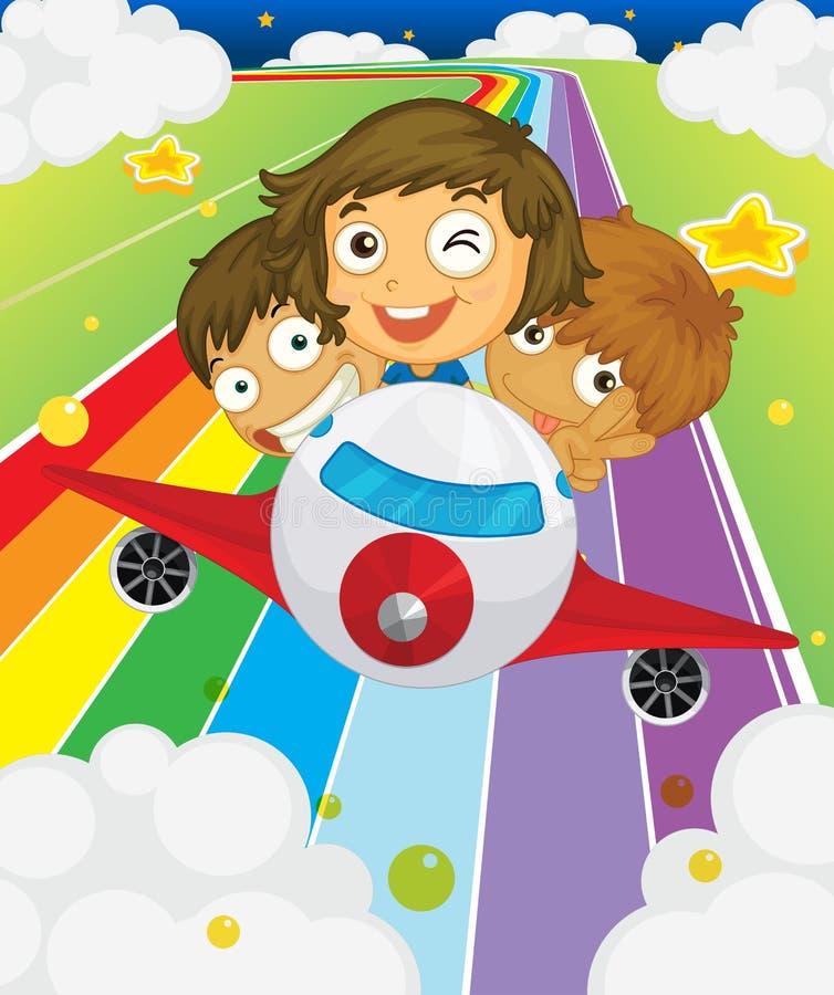 Un avion avec trois enfants espiègles illustration de vecteur