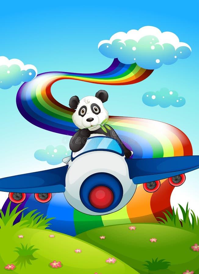 Un avion avec un panda près de l'arc-en-ciel illustration stock