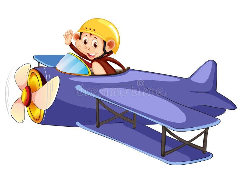 Un avion d'équitation de singe illustration de vecteur