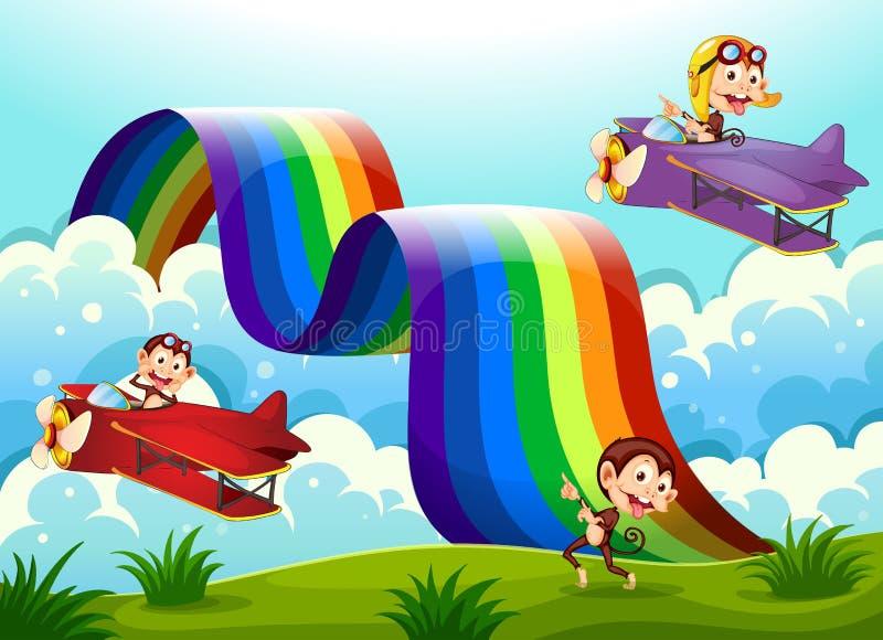 Un avion rouge et violet avec des singes volant près de l'arc-en-ciel illustration stock