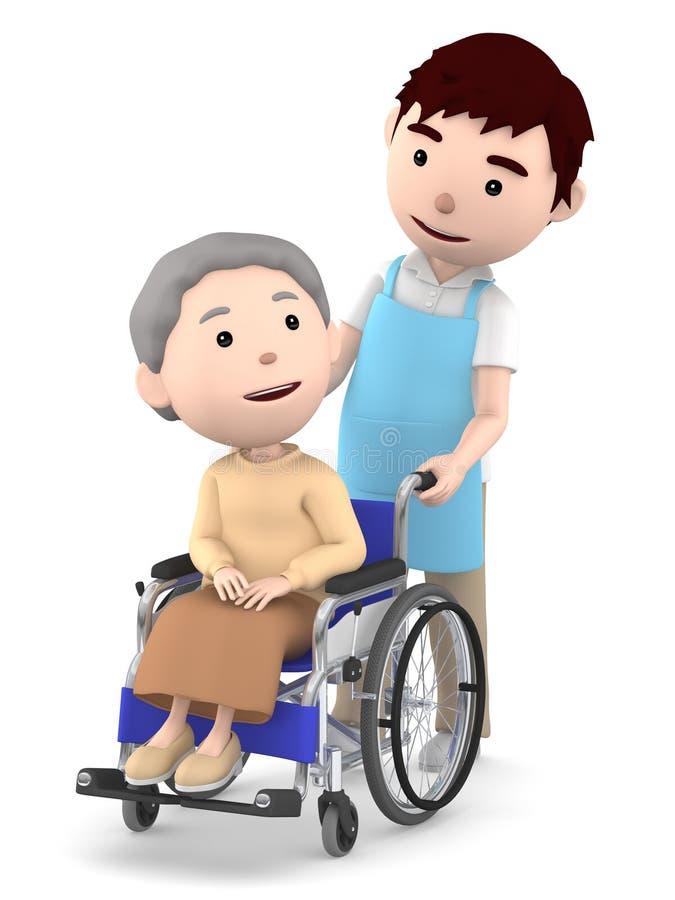 Un ayudante masculino a ayudar con una señora mayor que se sienta en una silla de ruedas, ejemplo 3D