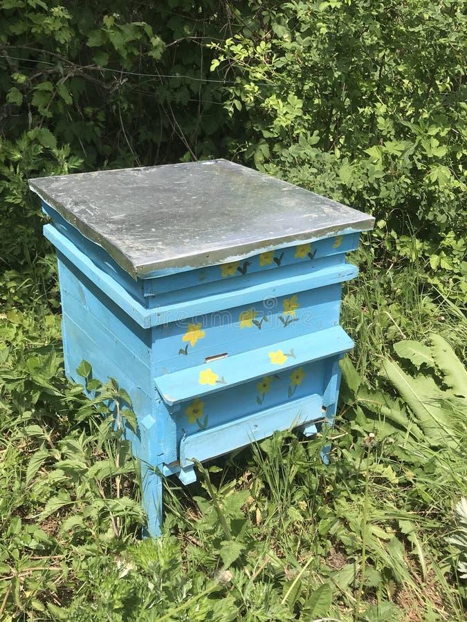Un azul hecho a mano de la colmena de la abeja con las flores fotos de archivo