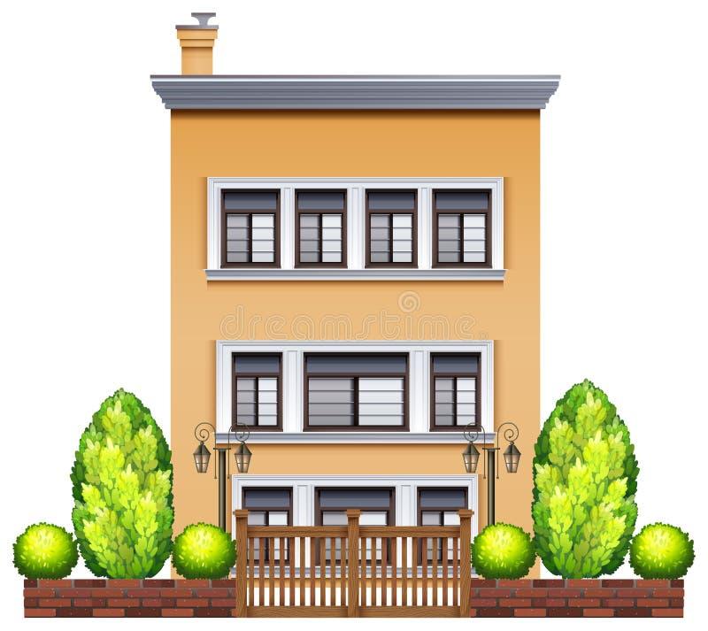 Un bâtiment commercial avec une barrière illustration de vecteur