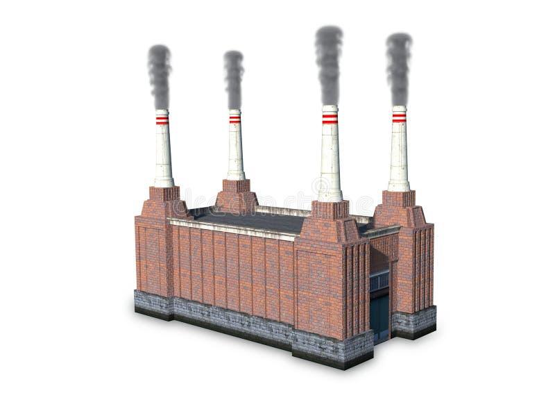 Un bâtiment d'usine d'isolement sur le blanc - 3D photo libre de droits
