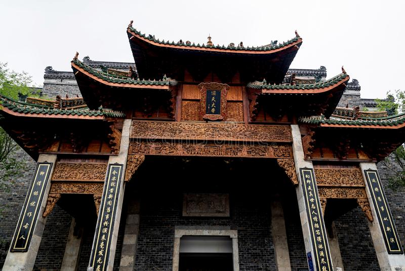 Un bâtiment de style de chinois traditionnel dans la ville de Wuhan photographie stock