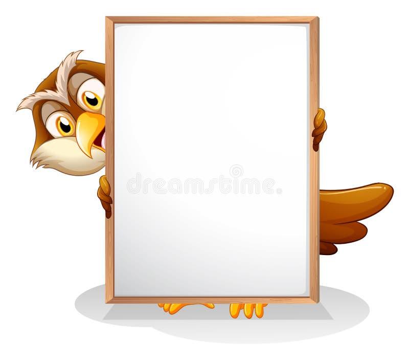 Un búho que lleva a cabo a un tablero vacío stock de ilustración