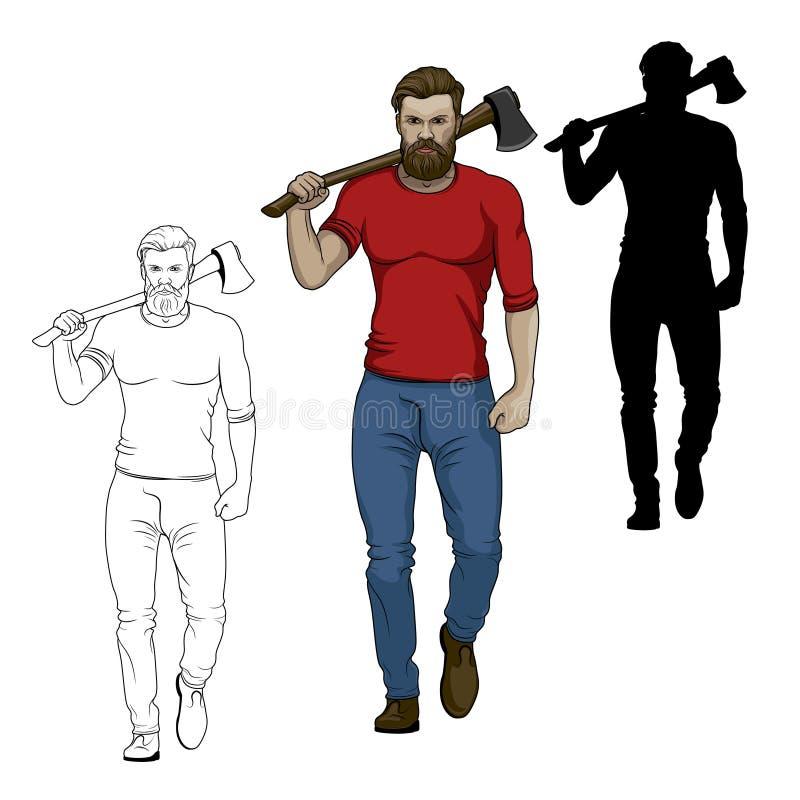 Un bûcheron porte une hache sur ses épaules Illustration de vecteur axeman illustration libre de droits