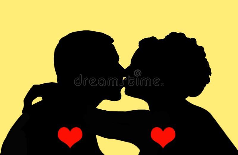 Un bacio di due enamoured. illustrazione vettoriale