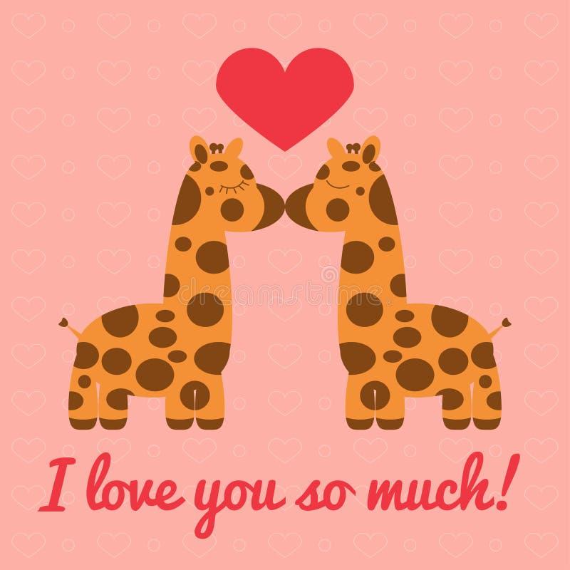 Un bacio di due giraffe illustrazione vettoriale