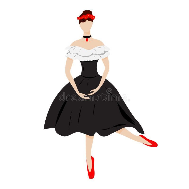 Un bailarín joven y delgado de la bailarina en un vestido hermoso ilustración del vector