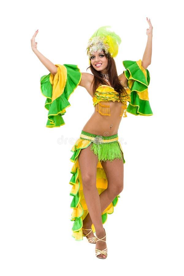 Un baile caucásico del bailarín de la samba de la mujer aislado en blanco en integral fotografía de archivo libre de regalías