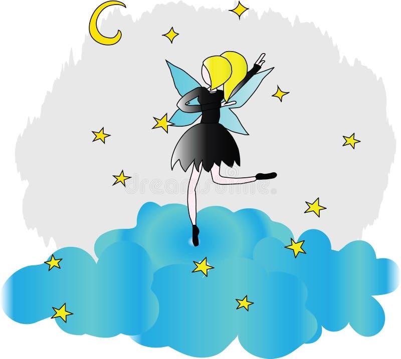 Un baile del ballet-bailarín en una nube stock de ilustración