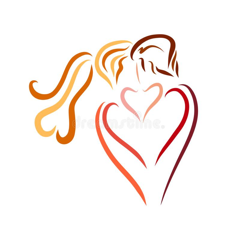 Un baiser doux des amants, un logo créatif illustration de vecteur