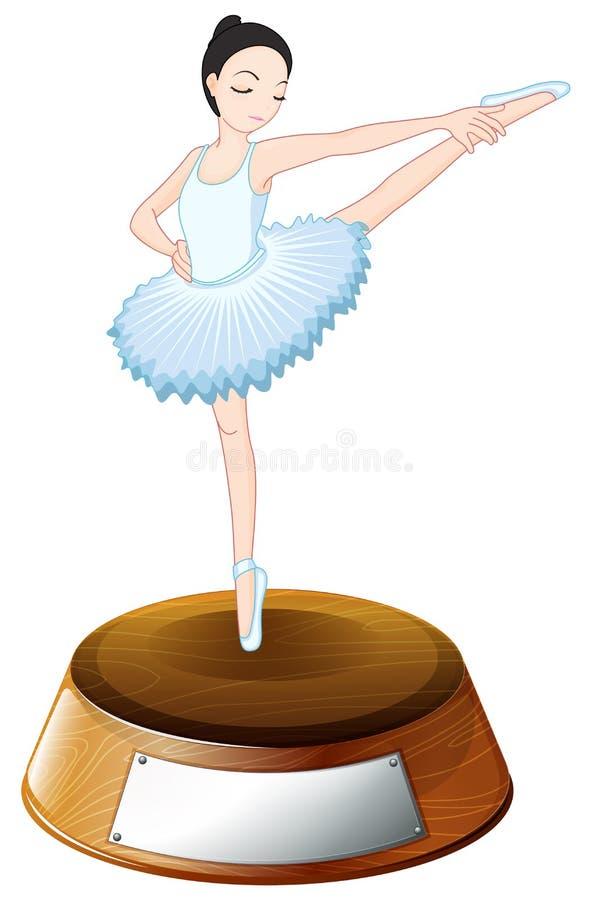 Un ballerino di balletto sopra il supporto del trofeo con un'etichetta vuota royalty illustrazione gratis
