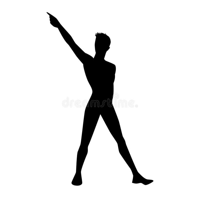 Un ballerino hip-hop di ballo maschio della via in siluetta illustrazione vettoriale