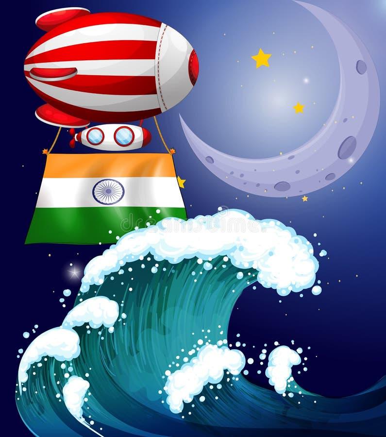 Un ballon avec le drapeau des vagues ci-dessus d'Inde illustration stock