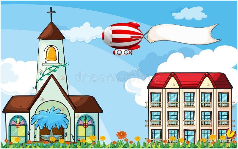 Un ballon avec un vol vide de bannière près de l'église illustration stock