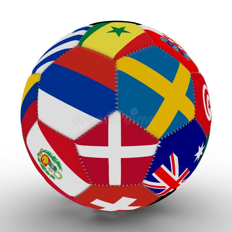 Un ballon de football avec la couleur des drapeaux des pays participant à la coupe du monde sur le football, au milieu de la Russ illustration de vecteur