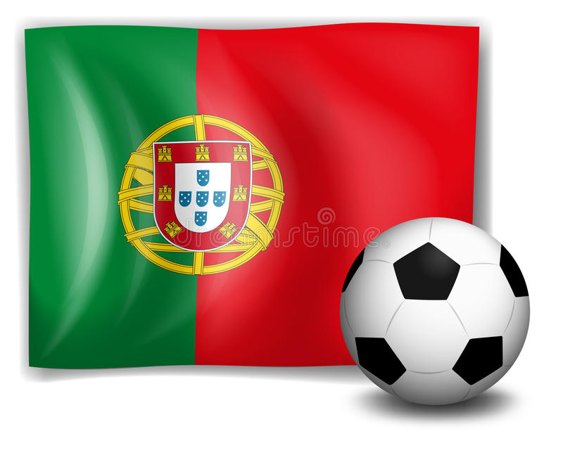 Un ballon de football devant le drapeau du Portugal illustration stock
