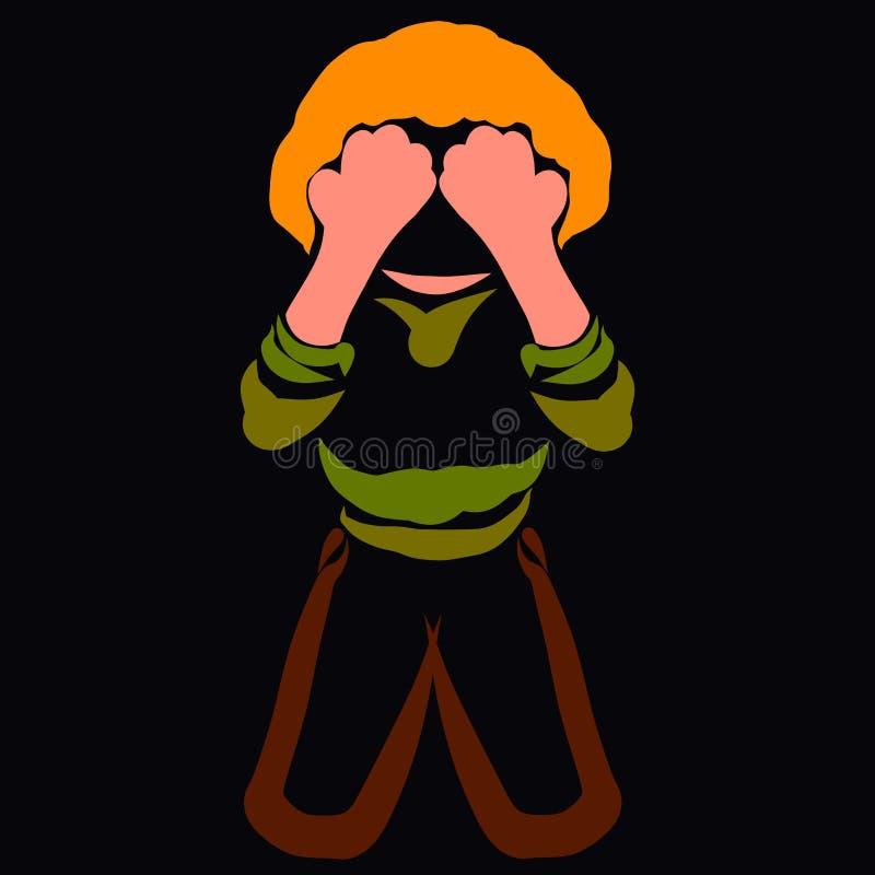 Un bambino che è spaventato o nasconde l'inginocchiamento illustrazione di stock