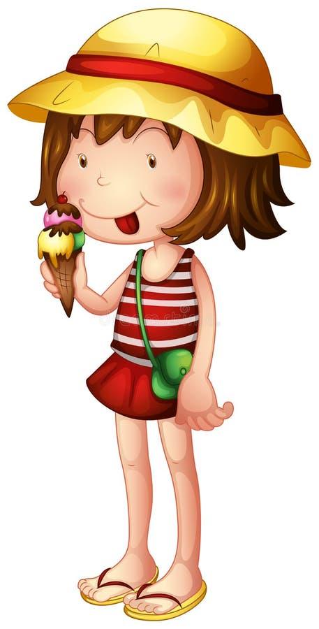 Un bambino che mangia un gelato illustrazione vettoriale