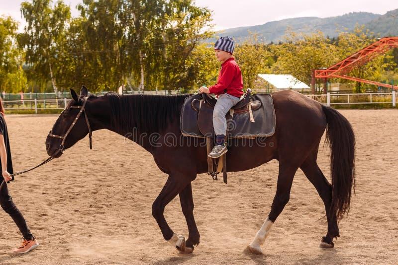 Un bambino di cinque anni monta un cavallo fotografia stock libera da diritti