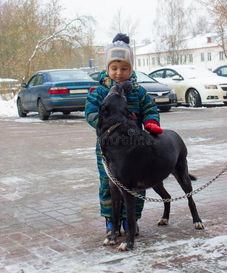 Un bambino di quattro anni, un ragazzo, sta su una via e sulle coccole dell'inverno un cane fotografia stock