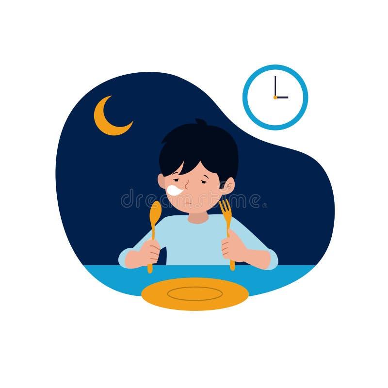 Un bambino sonnolento deve aspettare per sahur o il pasto prima dell'alba prima dell'illustrazione di digiuno di vettore di inizi illustrazione vettoriale