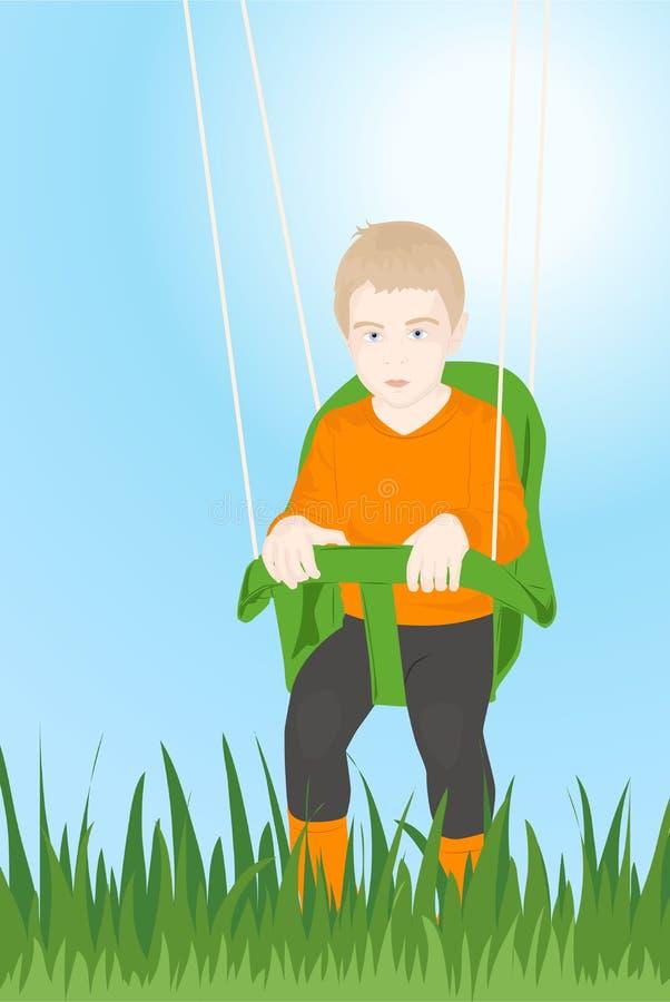 Un bambino su un'oscillazione fotografie stock