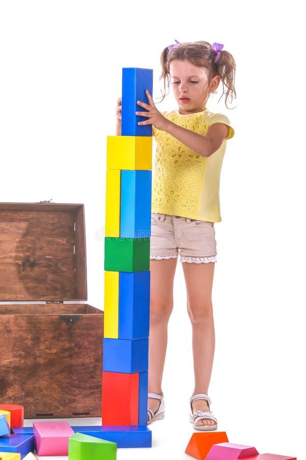 Un bambino sveglio che gioca con i giocattoli Una ragazza creativa con i giocattolo-blocchi isolati su un fondo bianco Concetto d fotografia stock libera da diritti