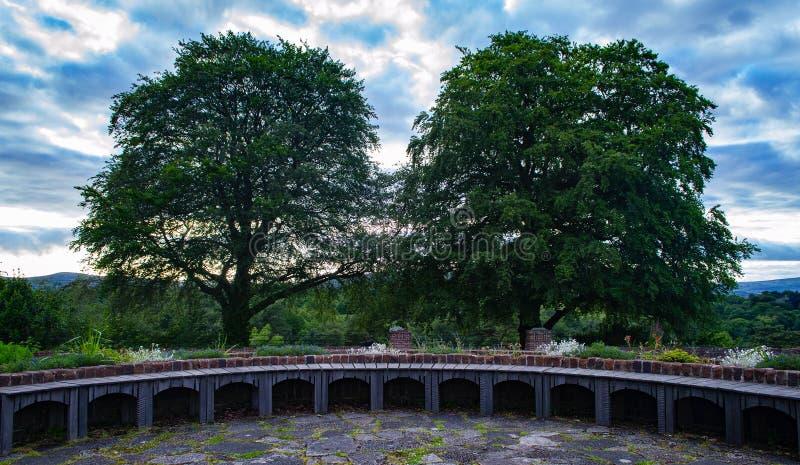 Un banco curvo lungo nel parco fotografie stock