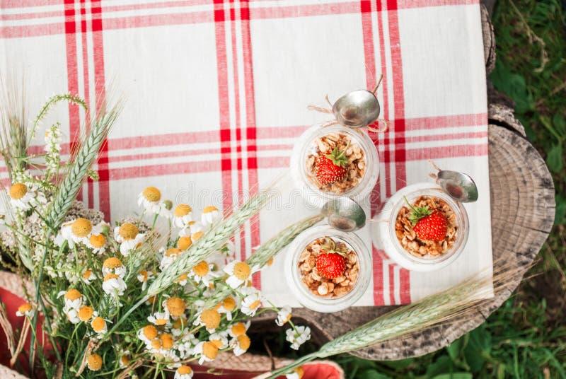 Un barattolo di vetro con un dessert delle fragole, del yogurt con Chia e del granola su un picnic in uno stile rustico immagine stock