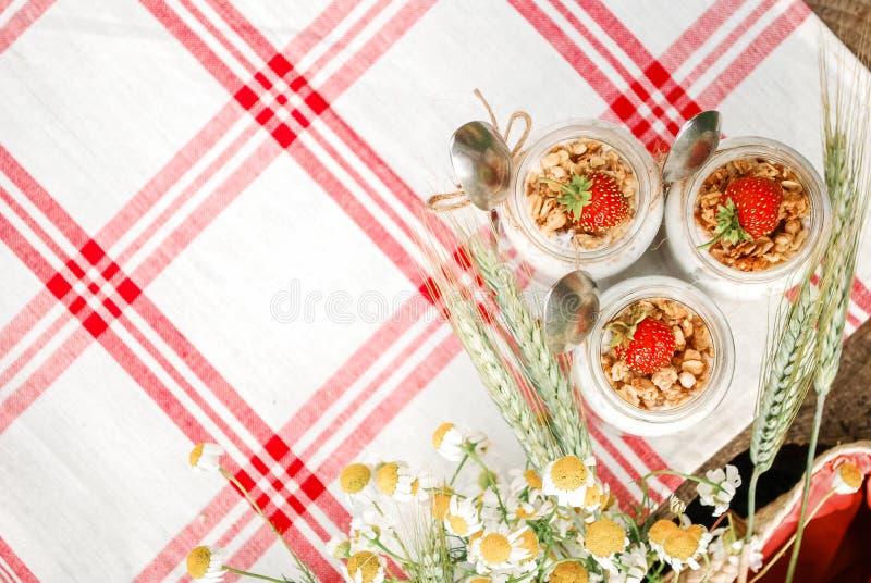 Un barattolo di vetro con un dessert delle fragole, del yogurt con Chia e del granola su un picnic in uno stile rustico immagini stock