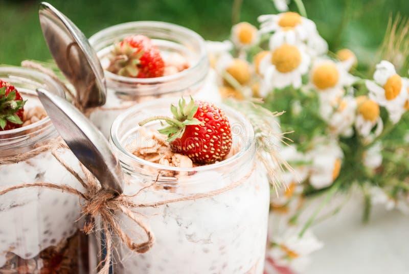 Un barattolo di vetro con un dessert delle fragole, del yogurt con Chia e del granola su un picnic in uno stile rustico immagine stock libera da diritti