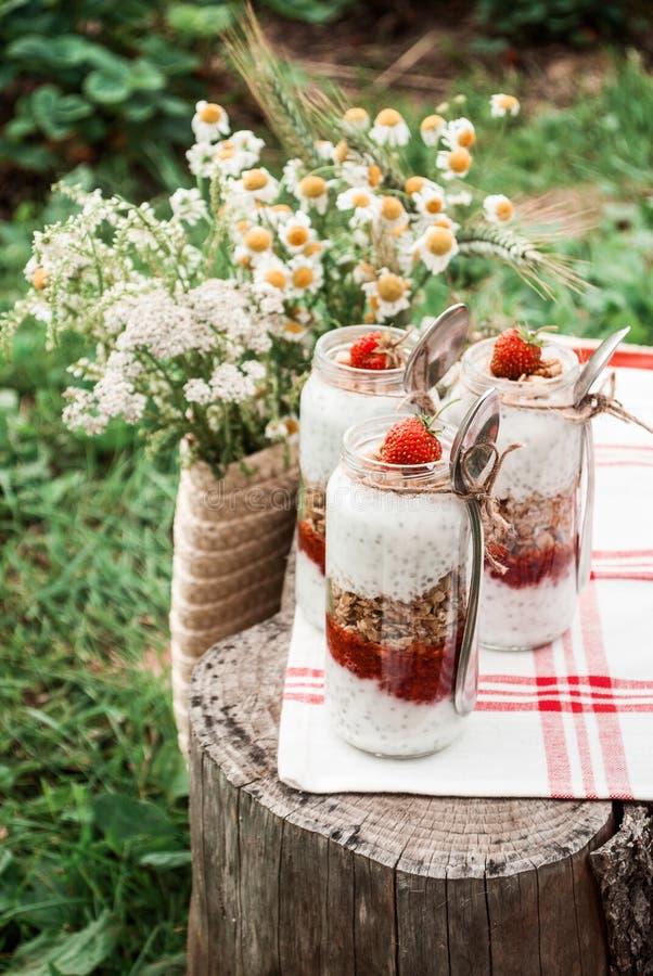 Un barattolo di vetro con un dessert delle fragole, del yogurt con Chia e del granola su un picnic in uno stile rustico fotografia stock