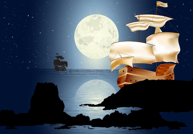 Un barco de vela en el claro de luna libre illustration