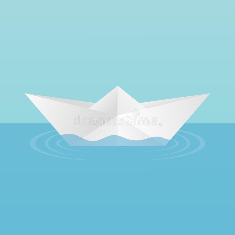 Un barco del juguete del ` s de los niños hecho del papel flotando, dejando círculos de ondulaciones en el agua En un fondo azul stock de ilustración