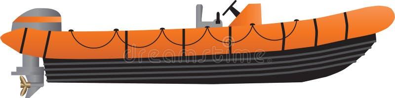 Un barco inflable anaranjado y negro ilustración del vector