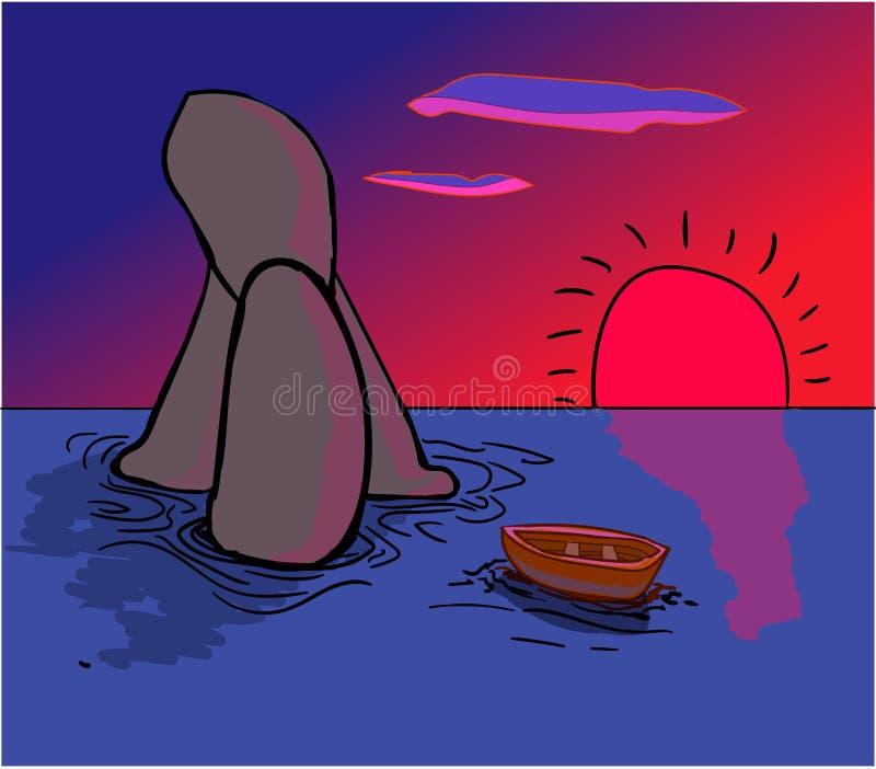 Un barco solitario deriva en los altos mares No lejos del objeto de madera hay altas rocas redondeadas stock de ilustración
