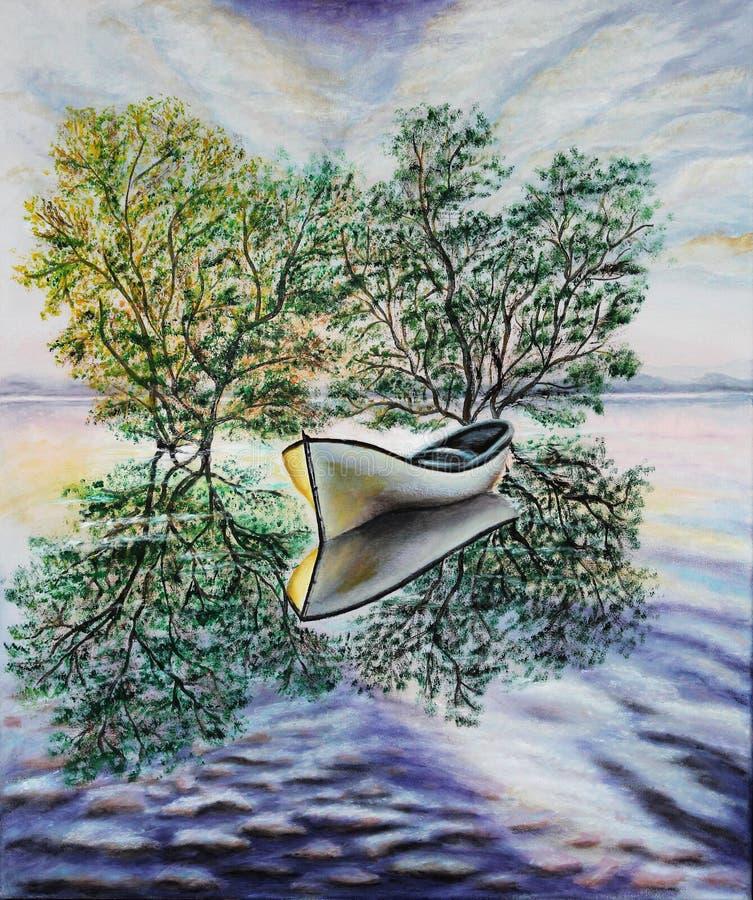 Un barco solitario en el medio de un lago claro Petróleo en lona Cuadro hermoso stock de ilustración