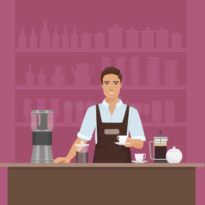 Un barista sonriente del hombre joven que prepara el café con vector de la café-máquina en restaurante del café libre illustration