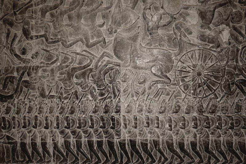 Un bassorilievo di Angkor Wat 001 fotografie stock