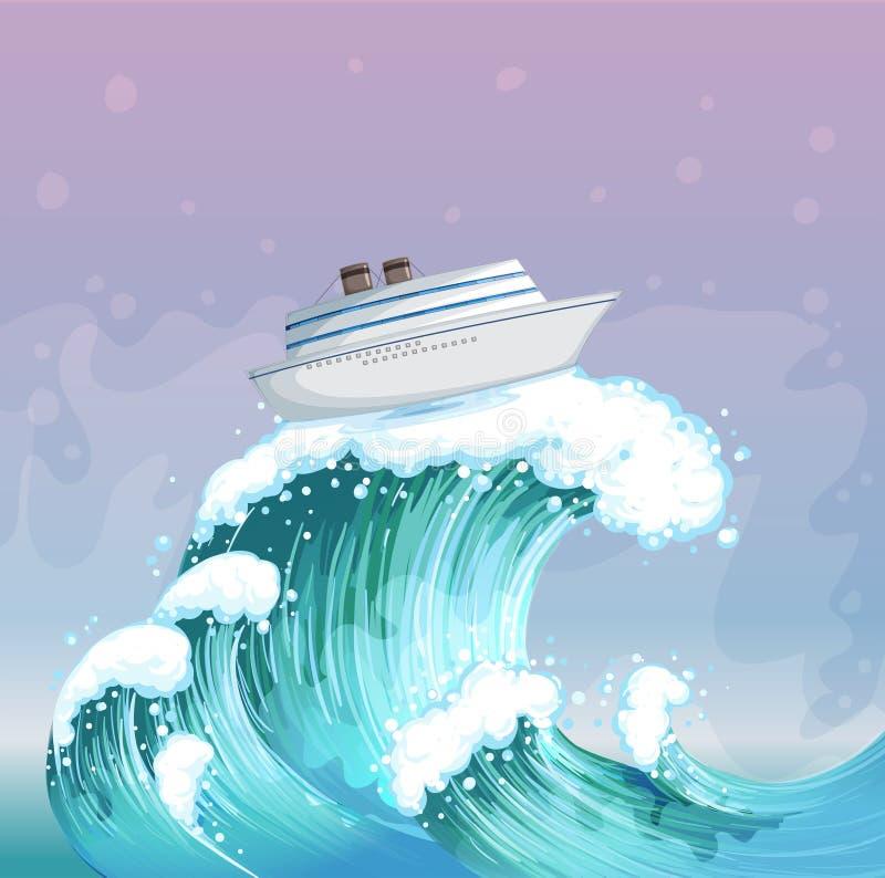 Un bateau au-dessus de la grande vague illustration de vecteur